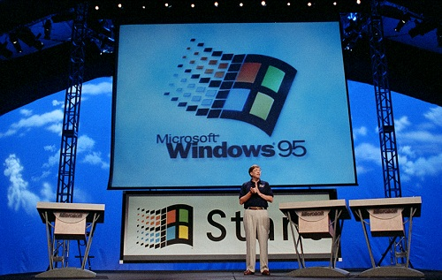 Bill Gates launches Windows 95 (Courtesy of Microsoft)