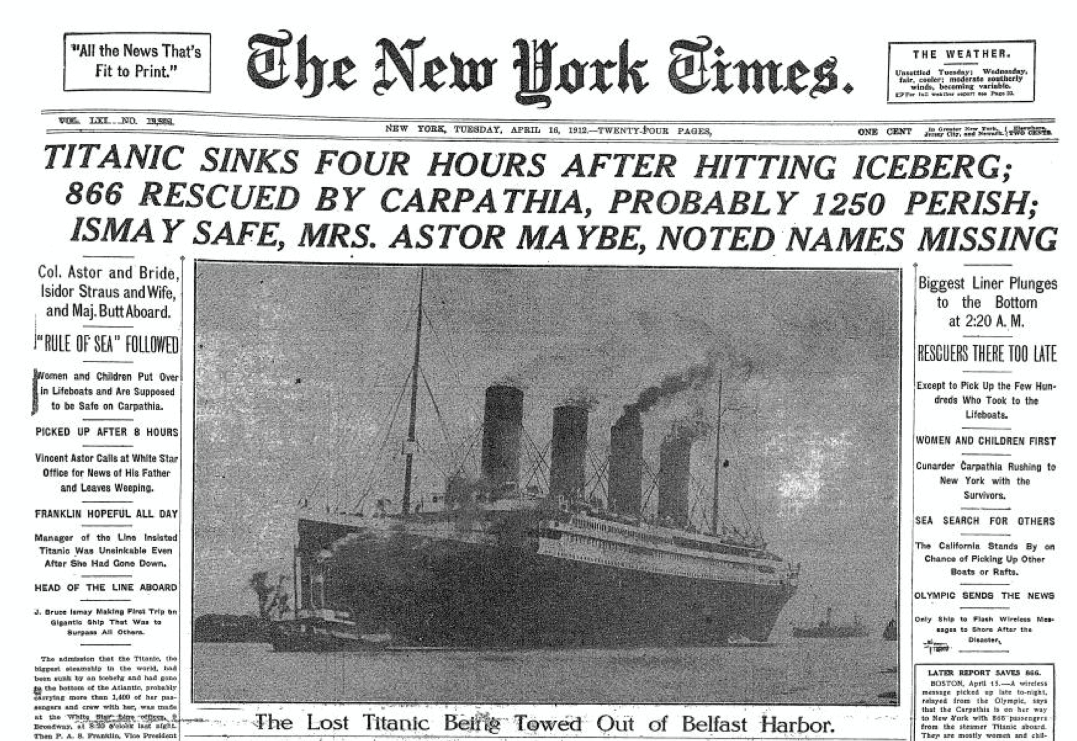 April 16, 1912 New York Times