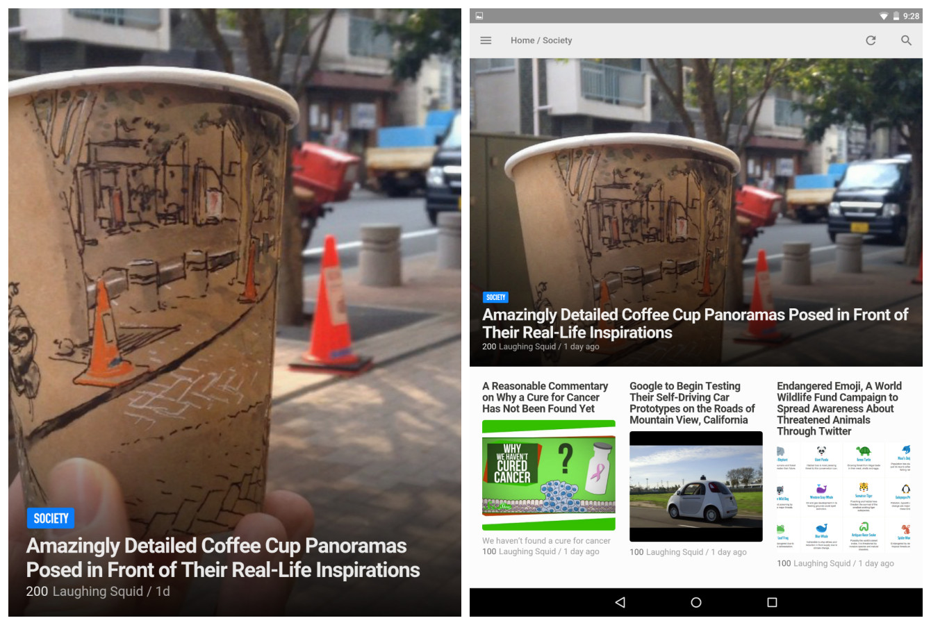 Feedly on Nexus 6 and 9
