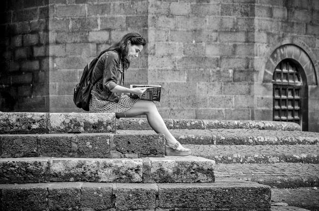 Woman Reading Magazine Italy