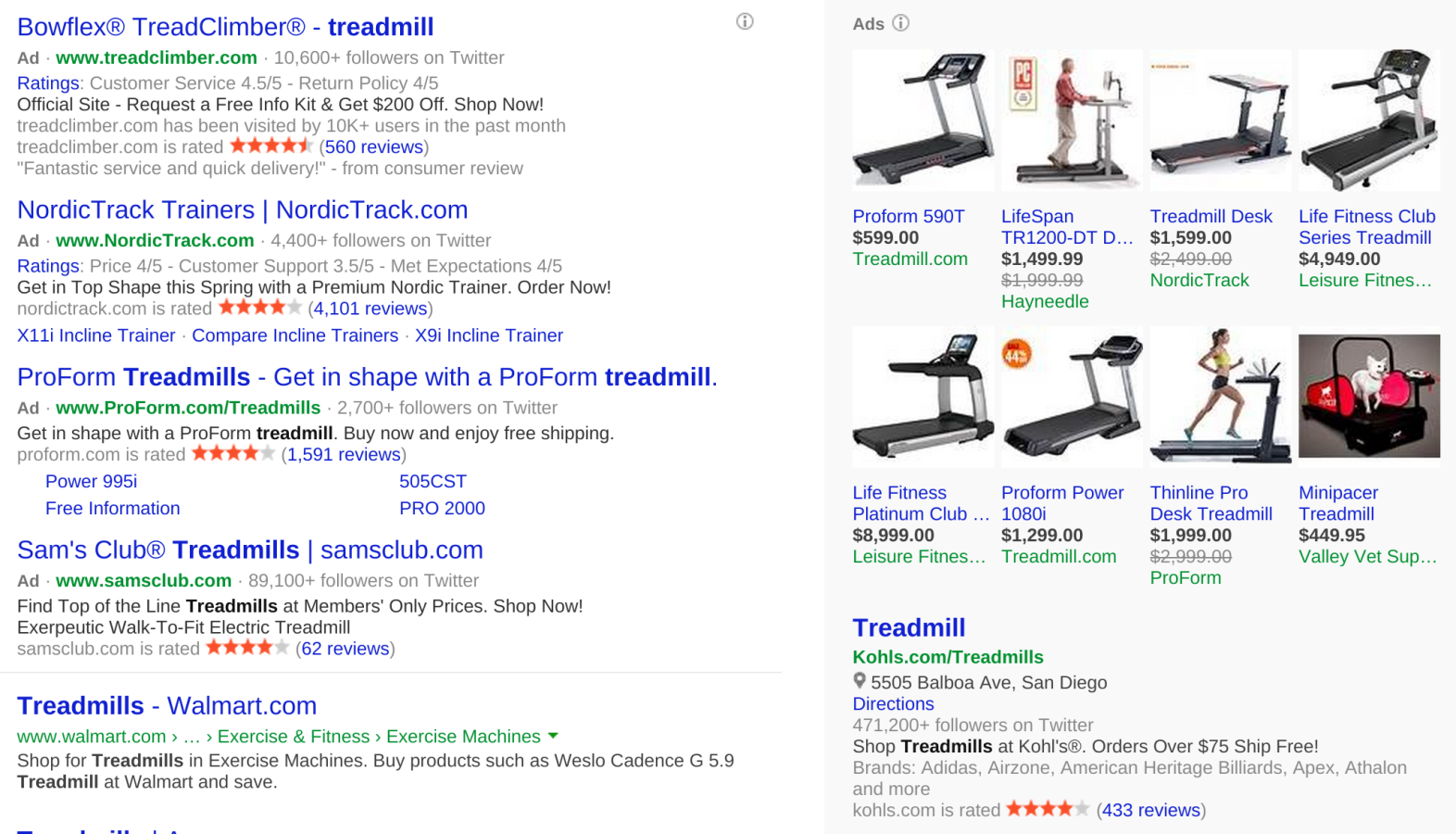 "Bing search for ""treadmill"" puts more ads in the results column."