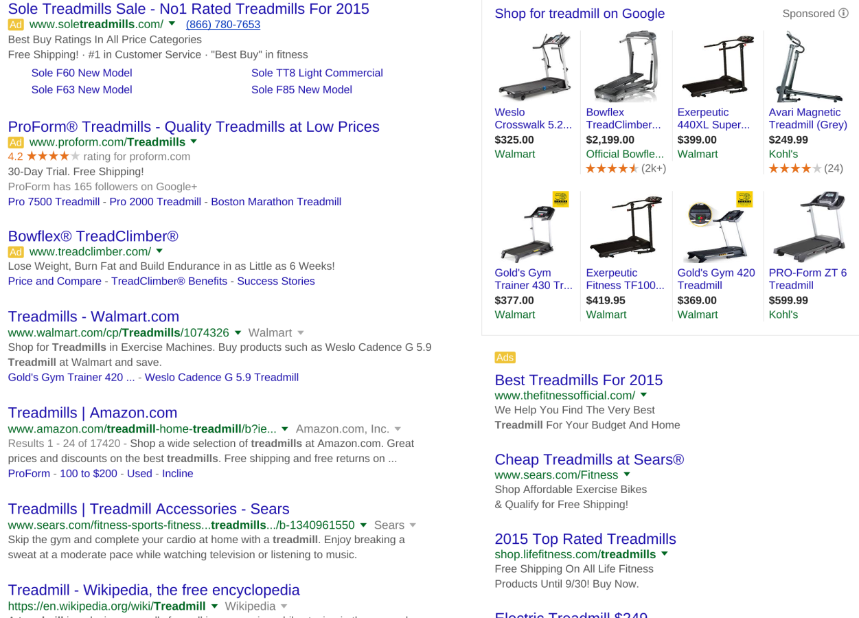 "Paid ads frame Google search results for ""treadmill""."