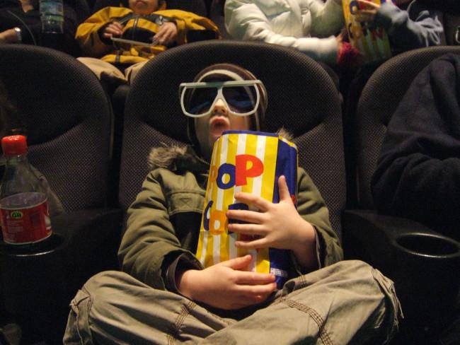 Kid Big Glasses Movie Theater Popcorn