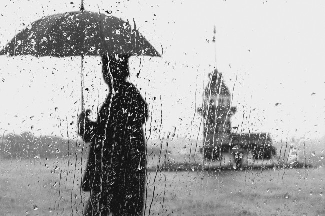 Umbrella Rain Glass Window